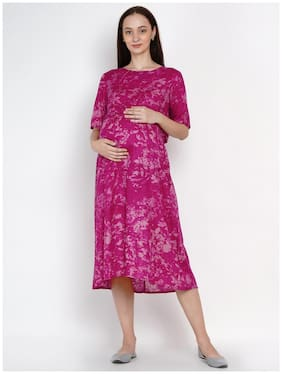 Mine4Nine Women Maternity Dress - Pink S