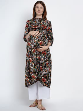 Mine4Nine Viscose Rayon Multi Printed Maternity Kurta  For Women