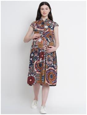 Mine4Nine Viscose Rayon Floral Multi Dress  For Women
