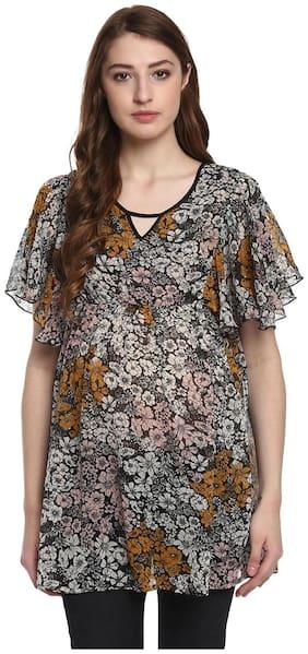 Mine4nine Women's Black A-Line Floral Printed Maternity Top