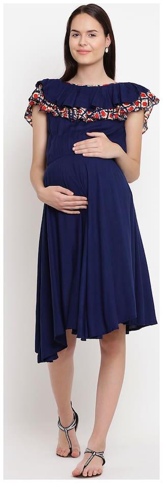 Mine4Nine Women Maternity Dress - Blue L