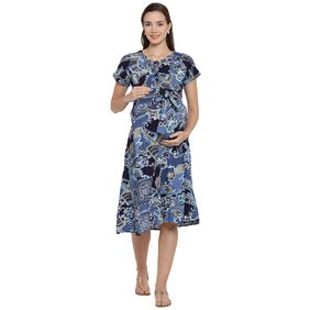 Mine4Nine Women RayonFit&FlareMaternity Dress
