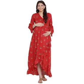 Mine4Nine Women Maternity Dress - Red M