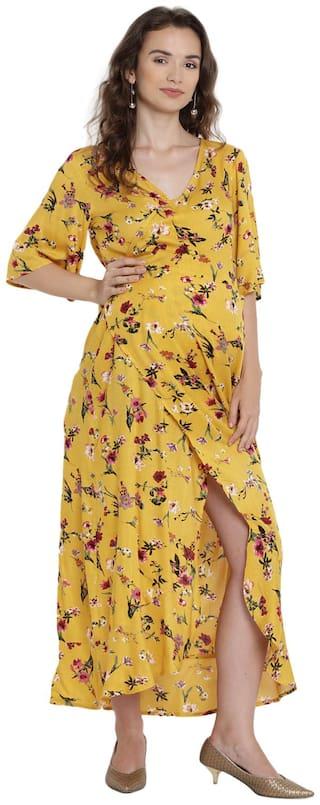 Mine4Nine Women Maternity Dress - Yellow L