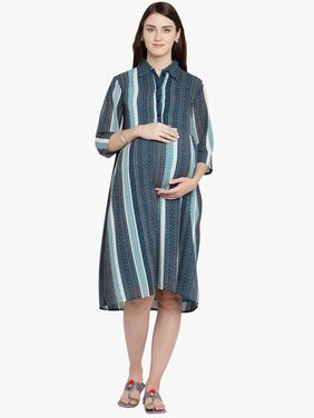 Mine4Nine Women Multi Chiffon Midi Maternity Dress