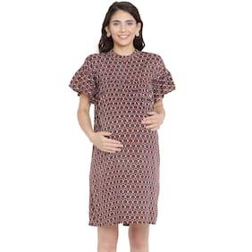 Mine4Nine Women Maternity Dress - Brown L