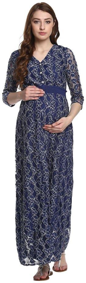 Mine4nine Women's Blue Solid Lace Maternity Maxi  Dress