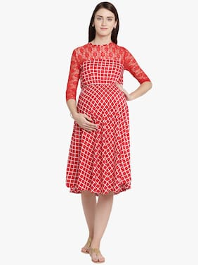 Mine4Nine Women Maternity Dress - Red Xl