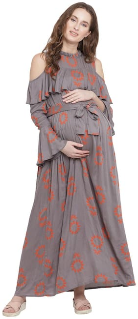 Mine4Nine Women Maternity Dress - Grey Xl
