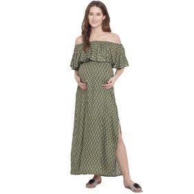 Mine4Nine Women Olive Maxi Maternity Dress