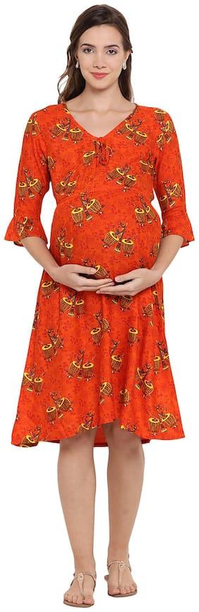 Mine4Nine Women Maternity Dress - Orange S