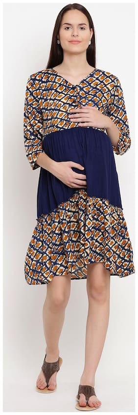 Mine4Nine Women Maternity Dress - Blue M