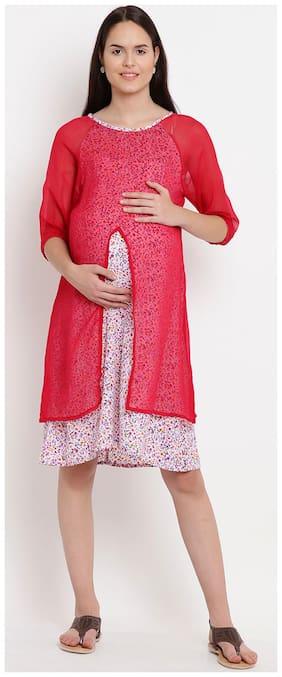 Mine4Nine Women Maternity Dress - White M