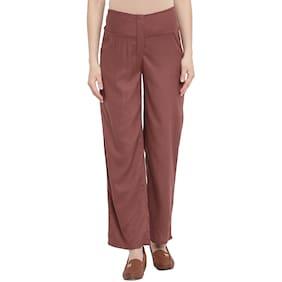 Mine4Nine Women Maternity Trousers - Brown Xl