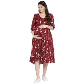 Mine4Nine Women Maternity Dress - Maroon M