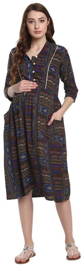 Mine4nine Women's Aztec Maternity Fit and Flare Dress