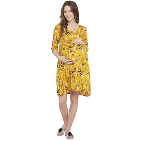Mine4Nine Women Maternity Dress - Yellow Xl