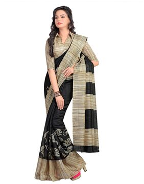 Miraan Silk Universal Block Print Work Saree - Black