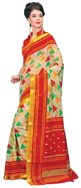 Miraan Chanderi Cotton With Zari Border Saree For Women