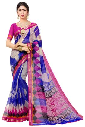 Miraan Printed Chanderi Saree With Zari Border Blouse Piece For Women