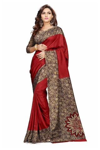 605b4b4a752 Buy Miraan Printed Art Silk Saree for women with blouse