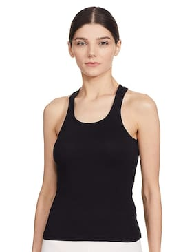 Miraculous Women Black Body fit Round neck Blended Tank top