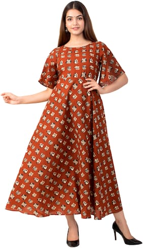 MIRAVAN Cotton Printed Brown Color Kurta Dress For Women