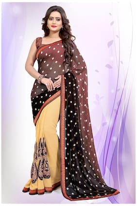 bd11ed5ccd084 Mirchi Fashion Georgette Universal Embroidered Work Saree - Multi