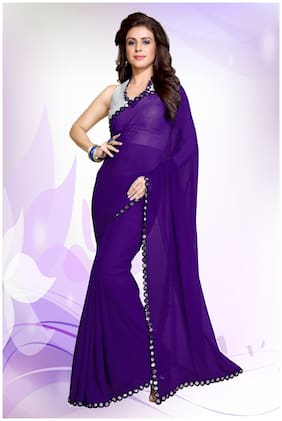 Mirchi Fashion Jazzy Purple Faux Georgette Mirror Lace Party Wear Saree