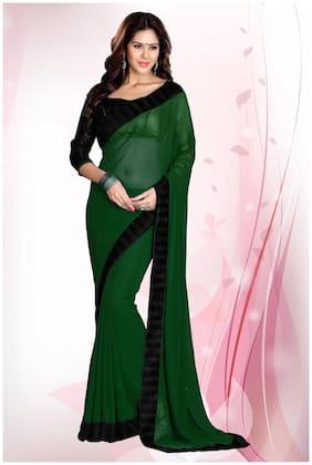 Mirchi Fashion Green Faux Georgette Latest Designer Saree