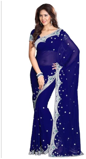 Mirchi Fashion Dark Blue Faux Georgette Latest Designer Sequins Work  Saree