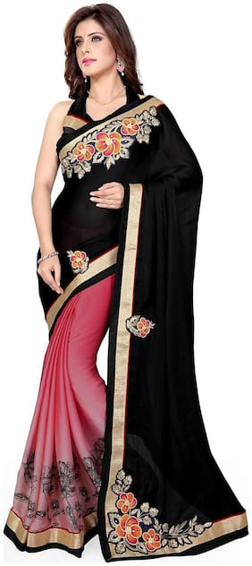 Mirchi Fashion Black and Peach Faux Georgette And Satin Latest Half Half Designer Saree
