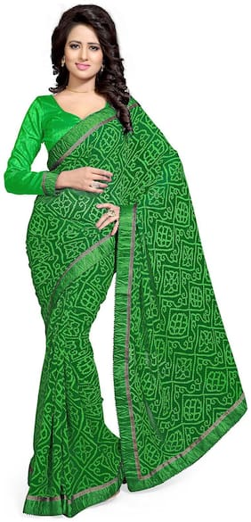 Mirchi Fashion Alluring Green Bhandni Printed Faux Georgette Party Wear Saree