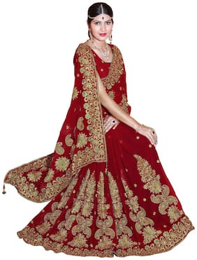 Mirchi Fashion Red Faux Georgette Heavy Embroidery Saree