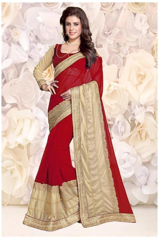2a635f7e1e Mirchi Fashion Stylish Red N Beige Faux Georgette And Lycra Embroidered Designer  Party Wear Saree