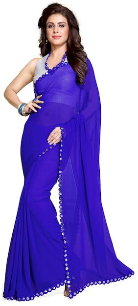Mirchi Fashion Alluring Royal Blue Faux Georgette Mirror Lace Party Wear Saree