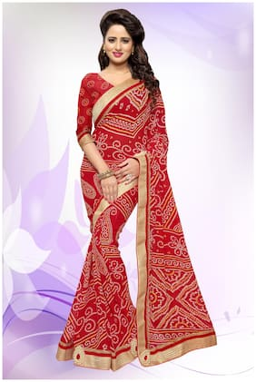 Mirchi Fashion Stylish Red Faux Georgette Bhandni Printed Party Wear Saree