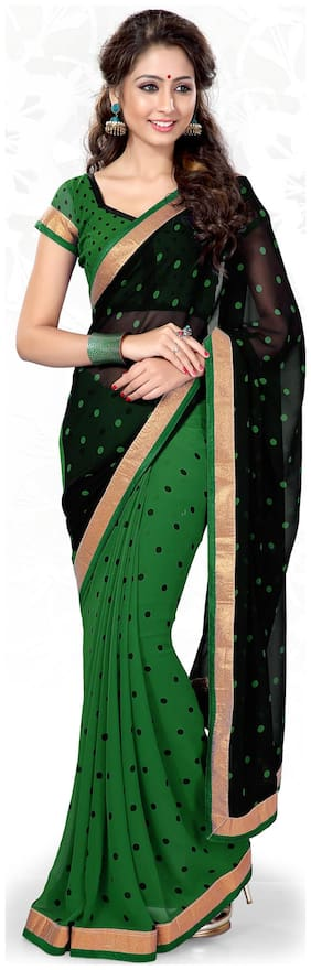 Mirchi Fashion Black And Green Faux Georgette Saree