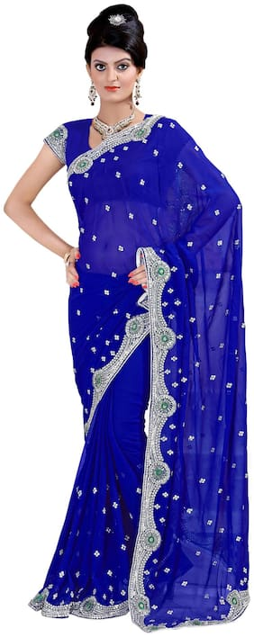 Mirchi Fashion Blue Faux Georgette Sequins Work (Only) Saree