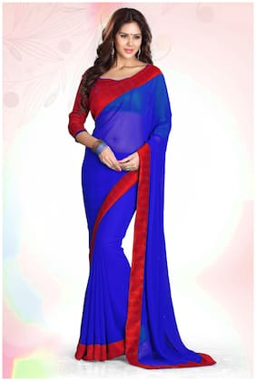 Mirchi Fashion Blue and Red Faux Georgette Party Wear Designer Saree