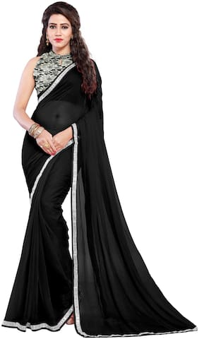 Mirchi Fashion Black Chiffon Lace Border Party Wear Sari