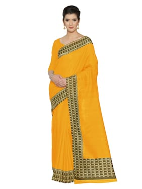 e303b0dc5ba35 Mirchi Fashion Women Yellow Art Silk Printed Saree