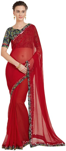 Mirchi Fashion Red Chiffon Bandhani Lace Border Party Wear Saree