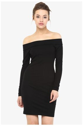 Miss Chase Women's Black Off-Shoulder Full Sleeves Solid Mini Bodycon Dress