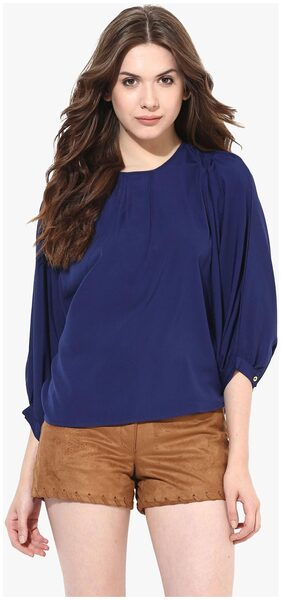 Miss Chase Women's Navy Blue Round Neck 3/4 Sleeves Oversized Top