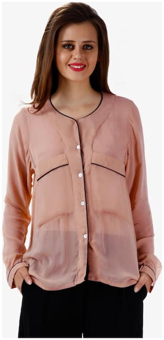 Miss Chase Women's Beige Round Neck Full Sleeves Oversized Shirt Top