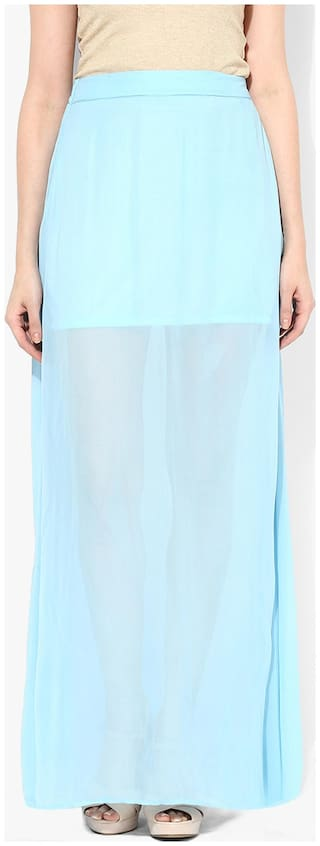 Miss Chase Women's Blue Mid Rise Thigh High Slit Maxi Skirt