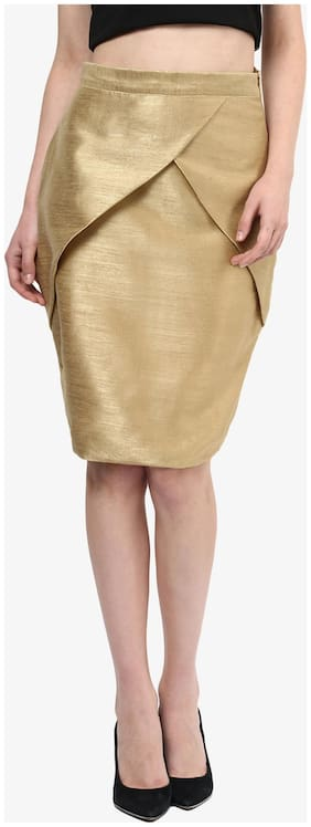 Miss Chase Women's Beige Mid Rise Front Panelled Mini Bodycon Skirt