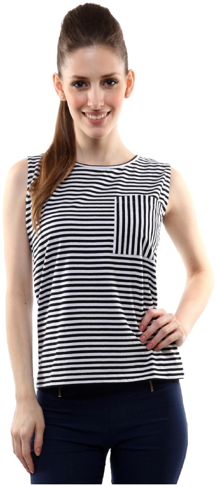 Miss Chase Women's Black and White Boat Neck Sleeveless Striped Top