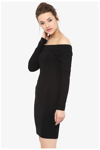 Black Shoulder Sleeves Full Off Chase Dress Mini Solid Miss Bodycon Women's OEUTqPUI